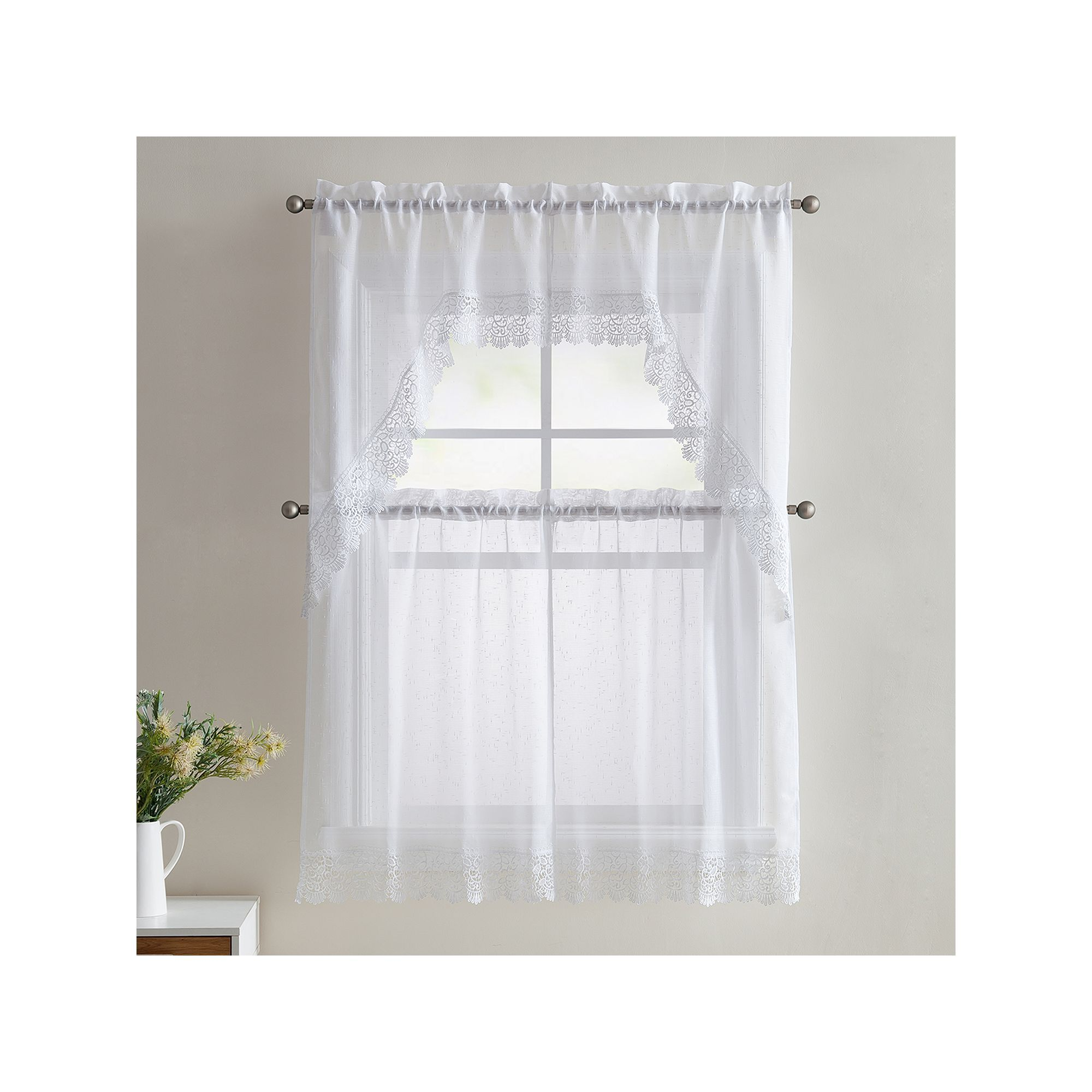 Vcny vcny piece galiana lace kitchen curtain tier u valance set