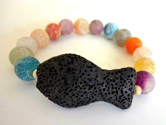 Unique bracelet-Lava rock-Volcanic lava-Santorini lava-Agate beads-Colorful…