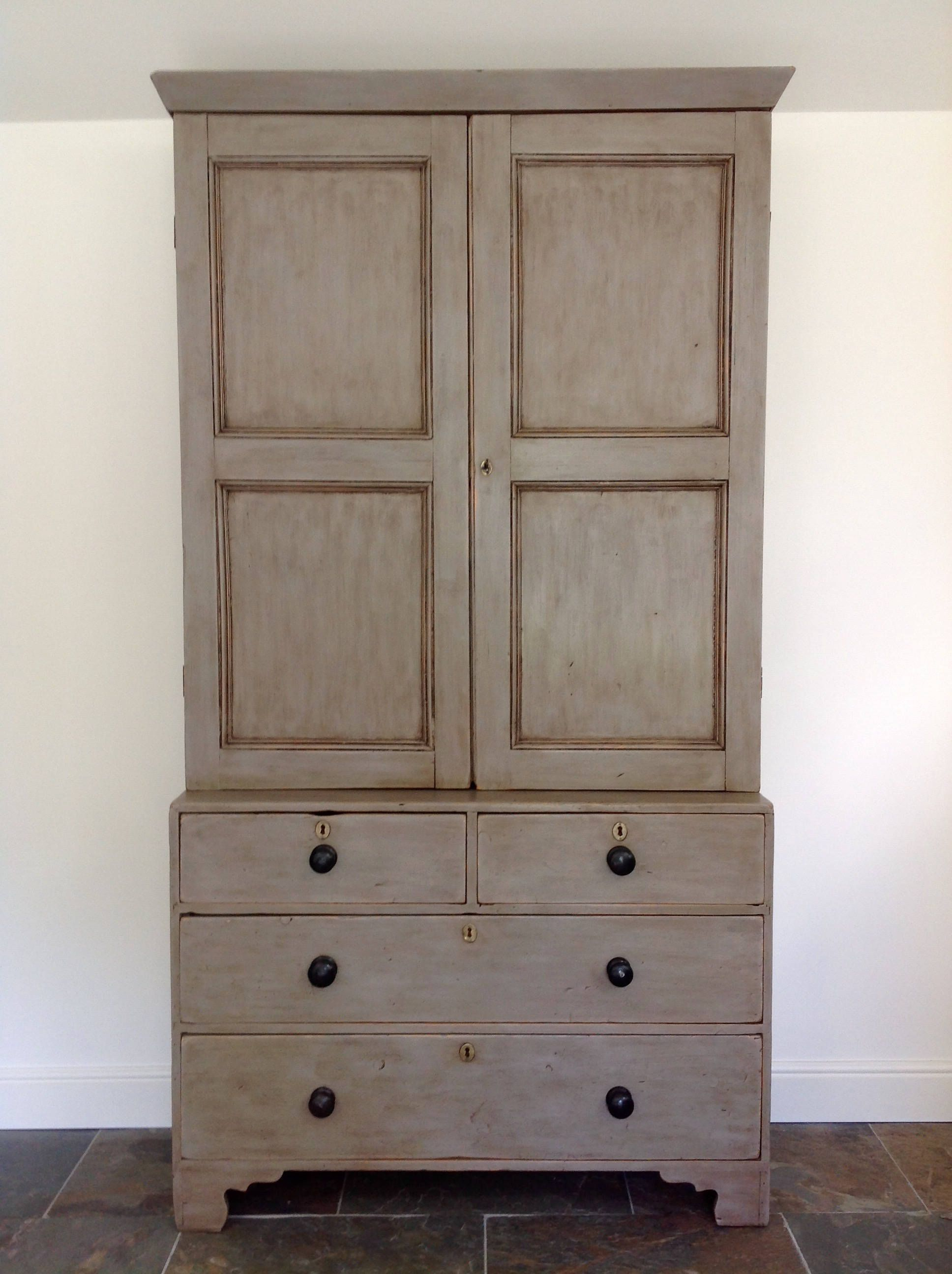 hand painted antique housekeepers armoire wardrobe linen. Black Bedroom Furniture Sets. Home Design Ideas