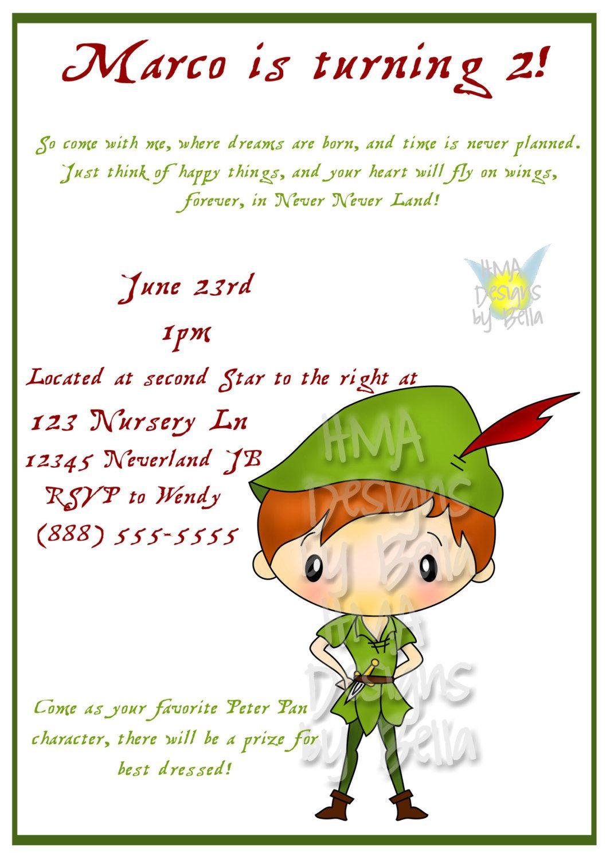 Peter Pan Invitation. $10.00, via Etsy. | Peter Pan Birthday ...