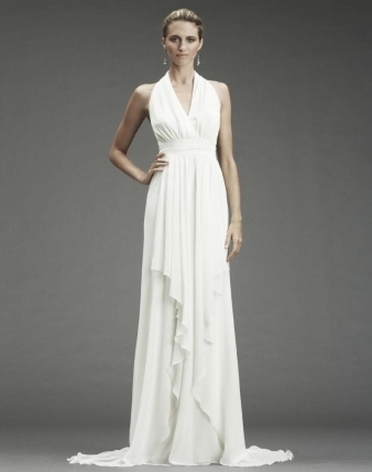 Nicole miller bridal antique white silk grecian inspired