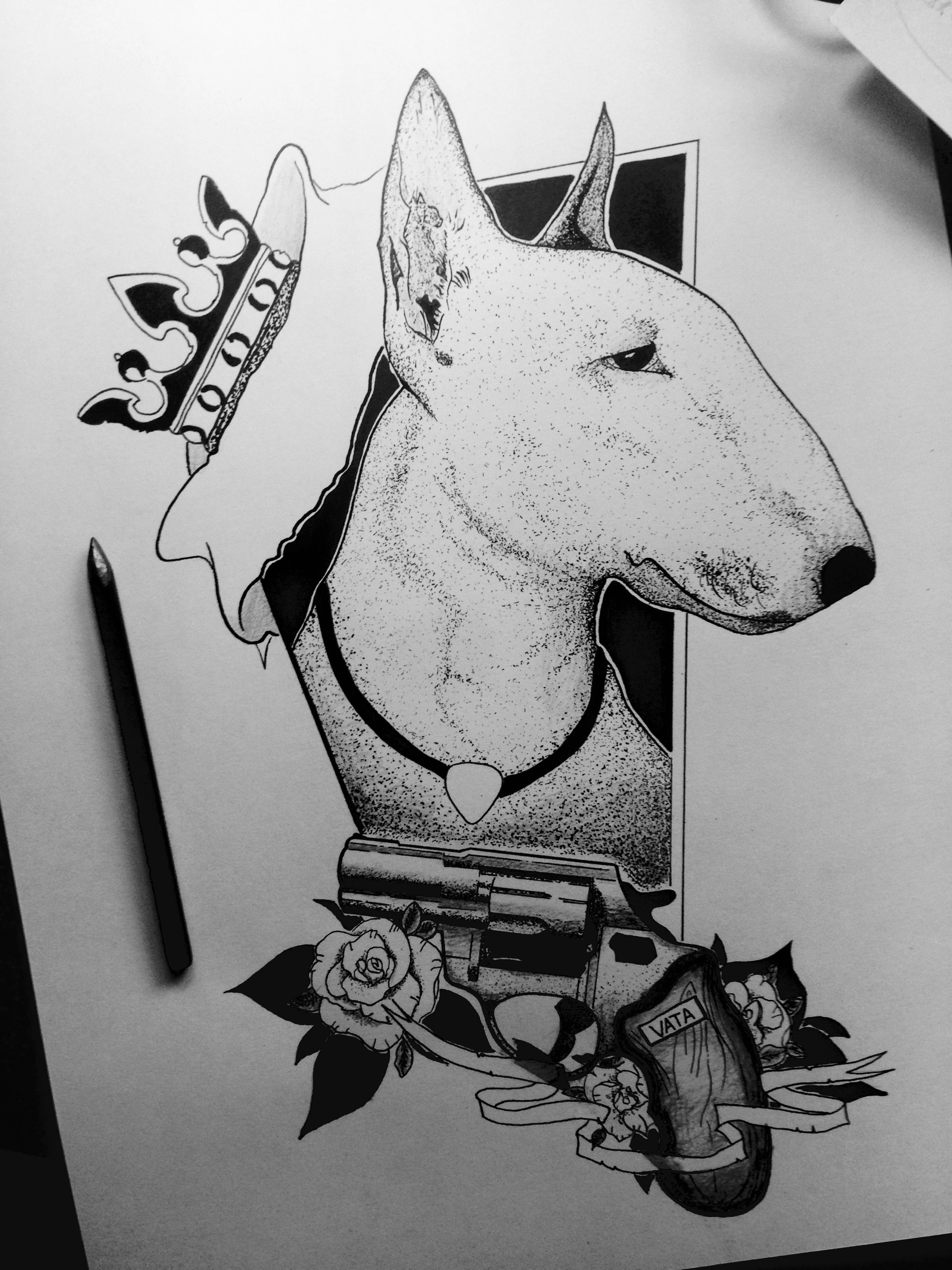 bullterrier blackandwhite dotwork gun rose king evil graphic ink sketch about black. Black Bedroom Furniture Sets. Home Design Ideas