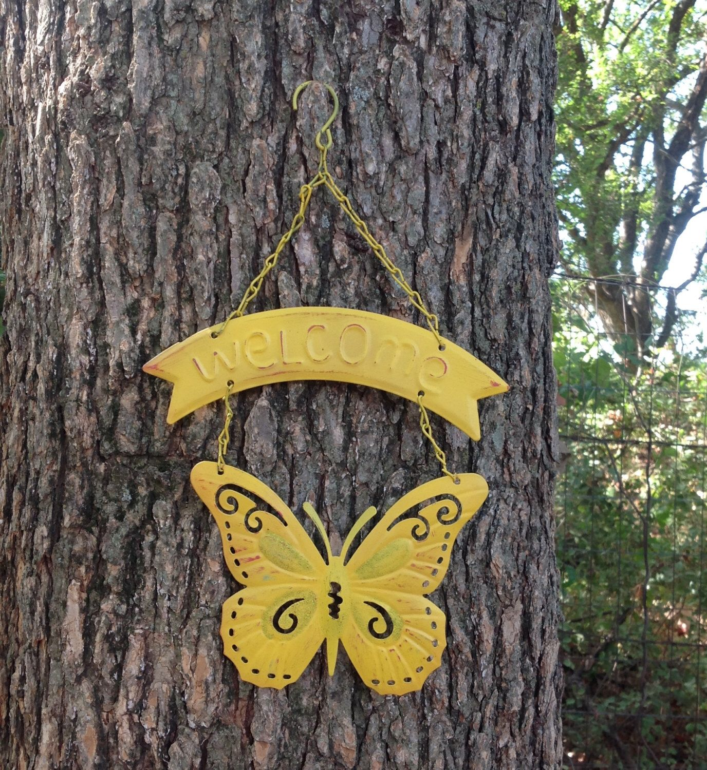 Sunny Yellow Butterfly Welcome Sign - Hanging Metal Outdoor Patio ...