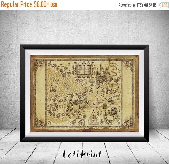 ON SALE The Wizarding World of Harry Potter Map Harry by LetiPrint ...