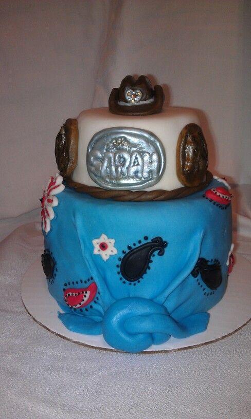 Western cake bandana paisley belt buckle