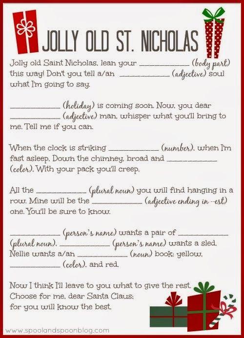 PRINTABLE Christmas Carol Mad Libs by Spool and Spoon for Sumo\u0027s