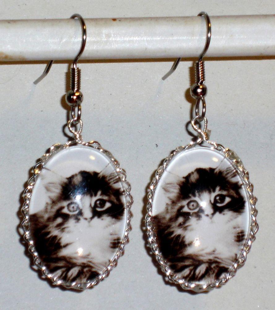 Ohrringe Katze Tiere Damen Hänger Ohrschmuck Modeschmuck Durchzieher Cabochon
