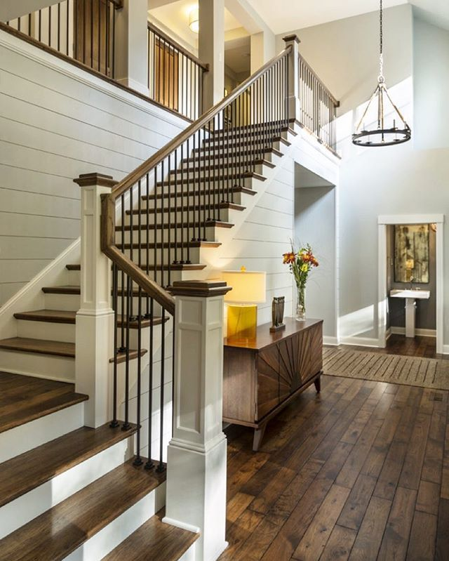Beautiful Interior Staircase Ideas And Newel Post Designs: Newel Post With Stained Top And Painted Body.