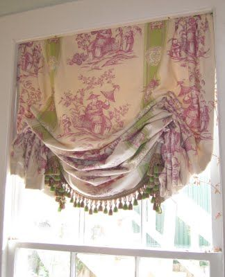 beautiful toile shade, great use of pattern in fabric