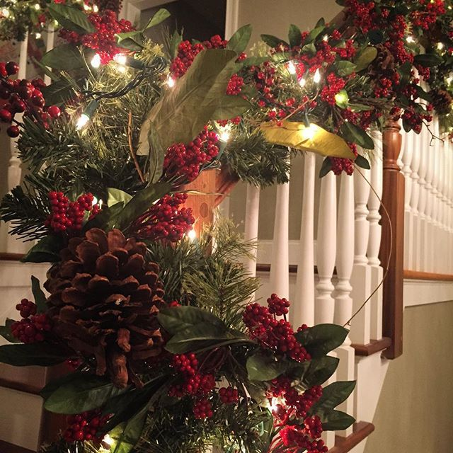 Yes, this happened tonight.  Jump start on stairwell garland at home. Promise the lights went off promptly after hanging. #christmasdecor #somuchribbon2hang #xmas #garland #pineconesandberries #neighborsknowiminsane #doubledecoratingdutythisyearwithshoptoo #gottastartinjunenextyear #dirtysecret #shhhh @vividhuehome #newengland #connecticut #connecticutincolor #colorcrush #nehome #farmington #farmingtonct