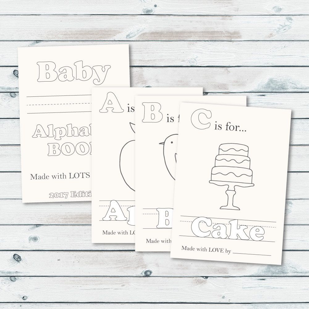 Alphabet Book Baby Shower Game Printable Baby Alphabet Book Coloring Pages Baby S First Alphabet Book Keepsake Storybook Baby Shower Storybook Baby Shower Baby Shower Book Baby Alphabet Book