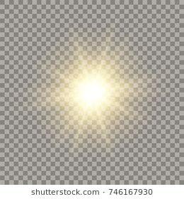 Golden shining vector sun with transparent rays. Yellow detonation effect.