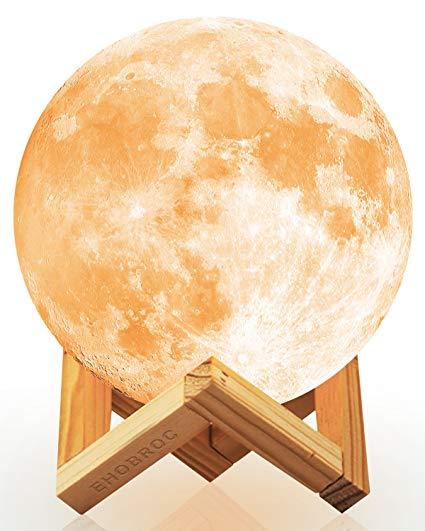Amazon Com Ehobroc Moon Lamp 3d Printing Moon Globe Light 5 9 Inch Glowing Moon Lamp Tap Change 3 Colors Cool Warm White Moon Globe Globe Lights Wall Lights