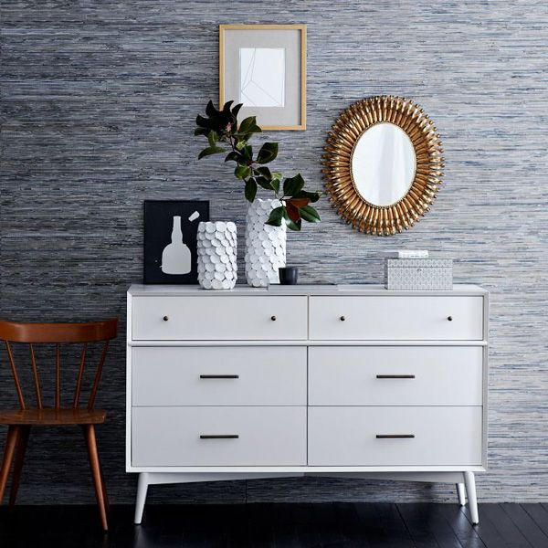 White Grasscloth Wallpaper: Blue Silver Grasscloth Wallpaper West Elm Cover Thibault