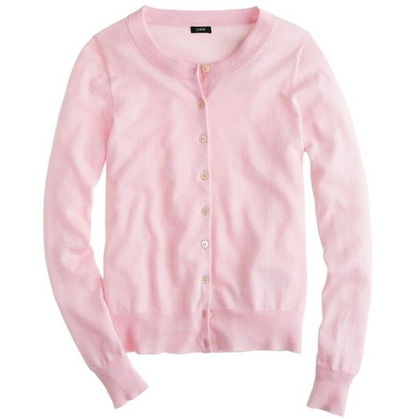 J.Crew Tippi cardigan ($50) found on Polyvore featuring tops, cardigans, sweaters, shirts, jackets, pink button down shirt, longsleeve shirts, pink cardigan, pink button up shirt and j.crew