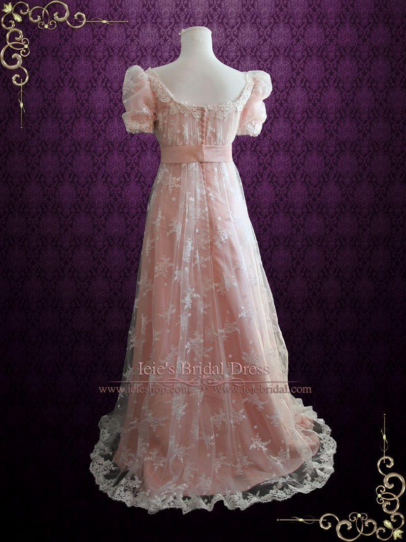 Pink Lace Regency Style Ball Gown Wedding Dress | Helena | Wedding ...