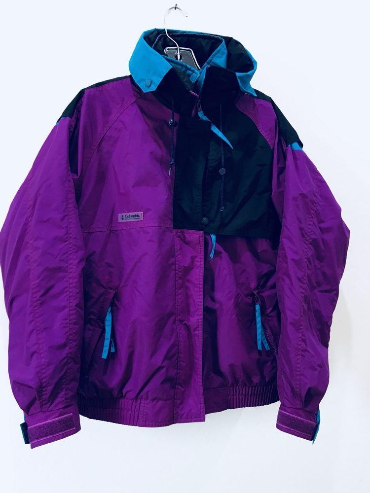 d62ad103dcd6c6 Columbia Sportswear Sz L Women Ski Jacket 3 In 1 80s 90s Criterion Vtg Neon  Hood  vintageski  purple  colombia