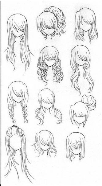 Drawing realistic hair -   10 hairstyles Drawing pictures ideas