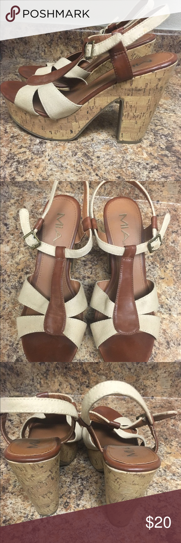 """Mia Heels Mia Brown & Tan Cork Heel Sandals. Pre- loved but still in great condition! Heel height approx 5"""" Mia Shoes Platforms"""