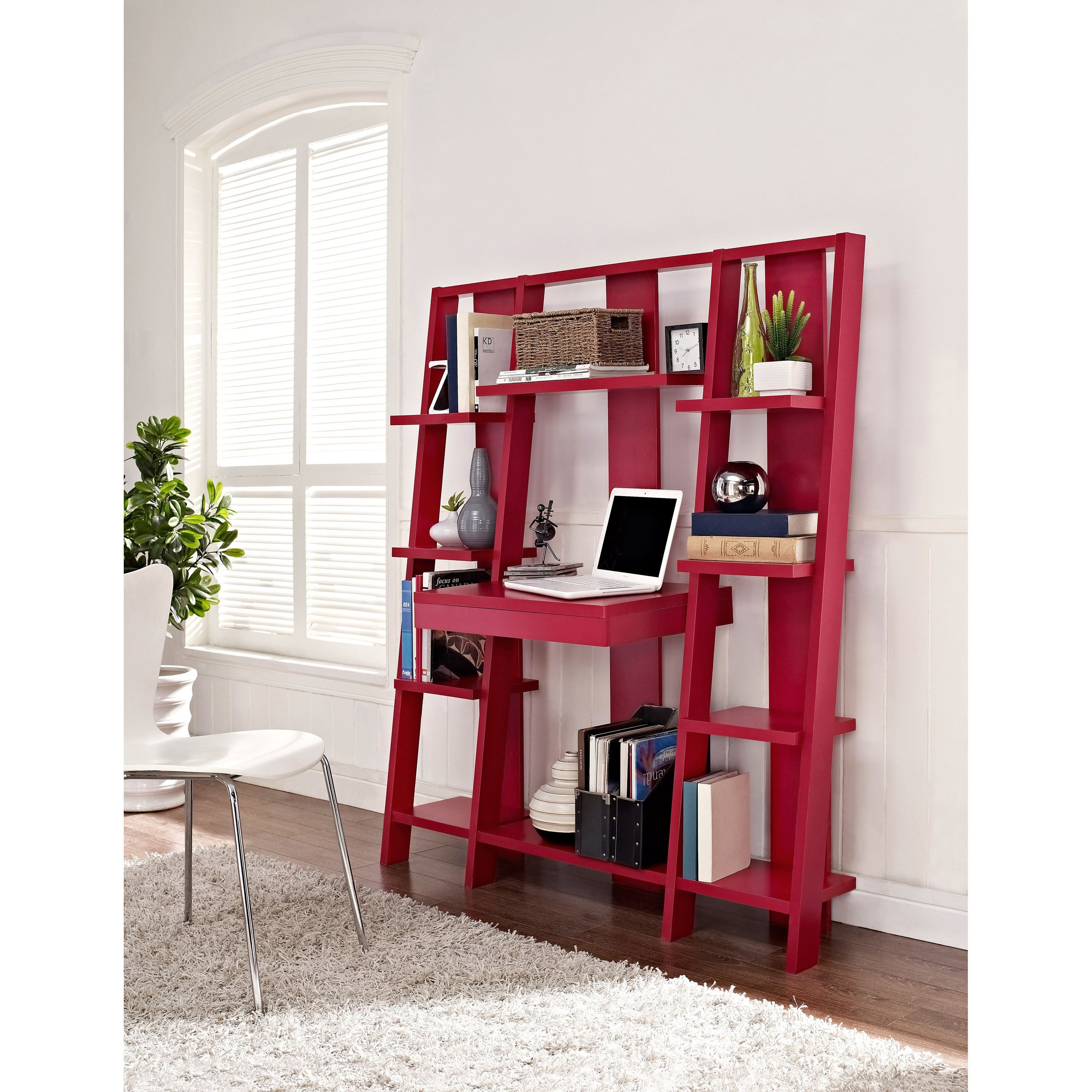 Ameriwood home altra ladder bookcase desk red black products