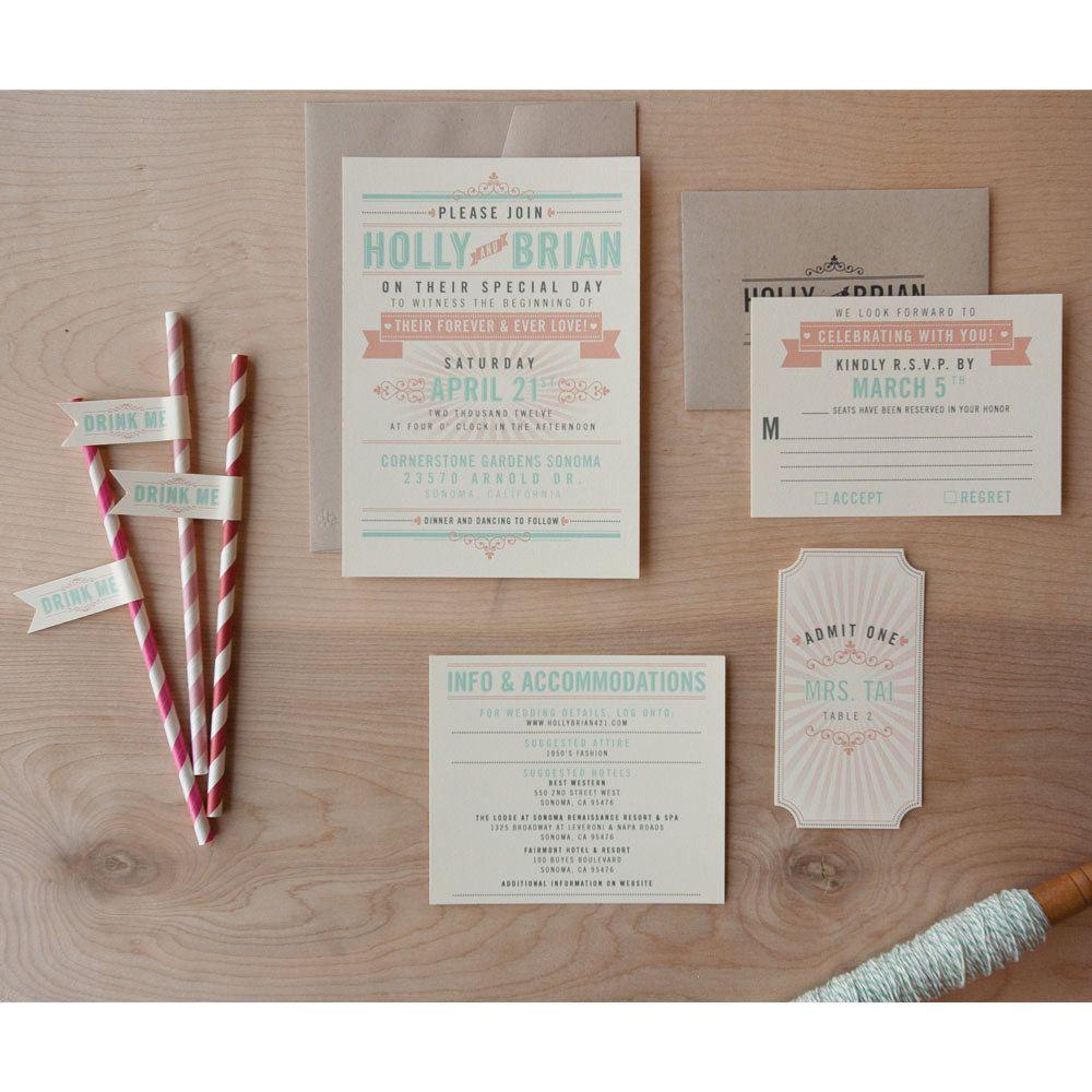 Offbeat Wedding Invitation, coral and Aqua invitation, typography ...