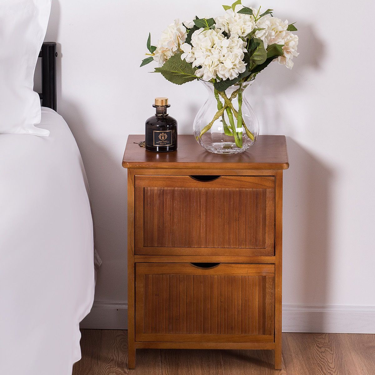 Nightstand 2 Drawers Contemporary Vintage Bedside Table Solid Wood