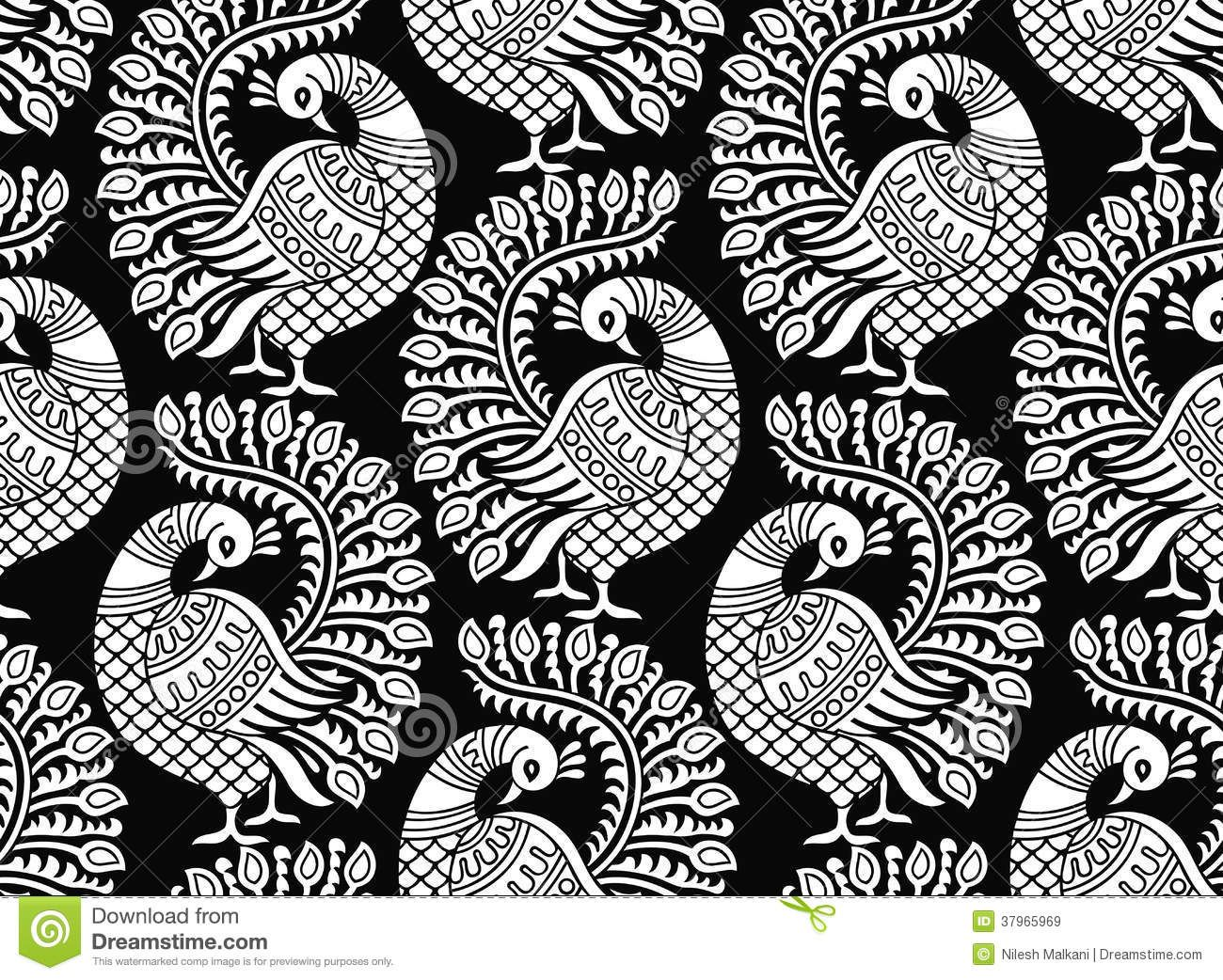 Line Design Clipart Free : Seamless vector peacock design royalty free stock images image