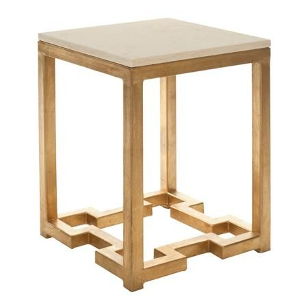 Greek Key Base Side Table Marble Top Accent Table Accent Table