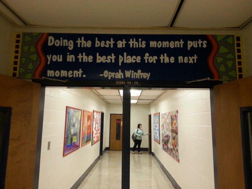 high school classroom door. Hallway To My High School Classroom With Colleague Closing Her Door. All The Artwork Door