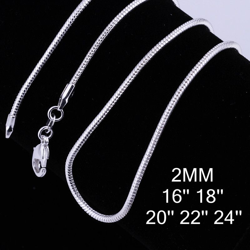 2MM 16-24inch silver Snake chain necklace for women Chains necklace for  Pendant 6865a1c1a0