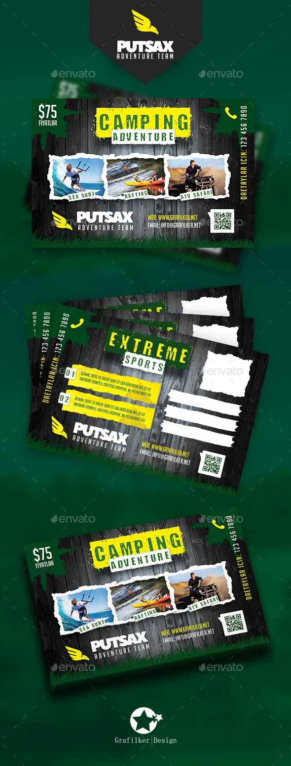 Camping Adventure Postcard Template PSD, InDesign INDD ...