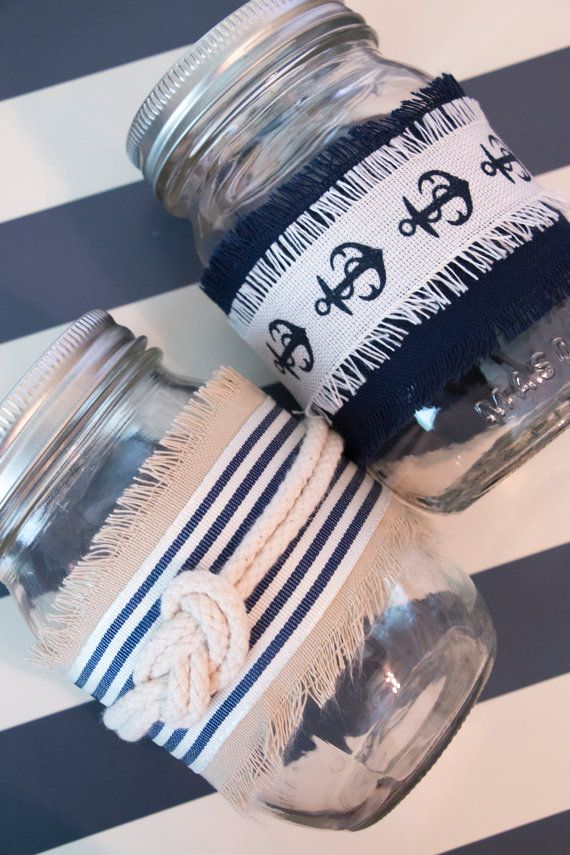 Nautical Themed Mason Jar Decor For 6 Jars By 20somethingonabudget Mason Jar Decorations Decorated Jars Nautical Themed Party