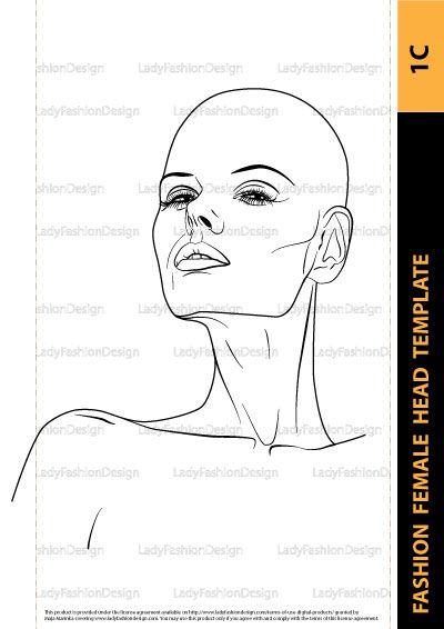 Hairstyle Female Head Template 1e Lady Fashion Design Fashion Drawing Fashion Illustration Sketches Female Head