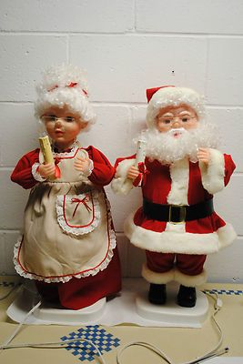 Vintage Animated Santa And Mrs Claus Set Of 2 Santas Best