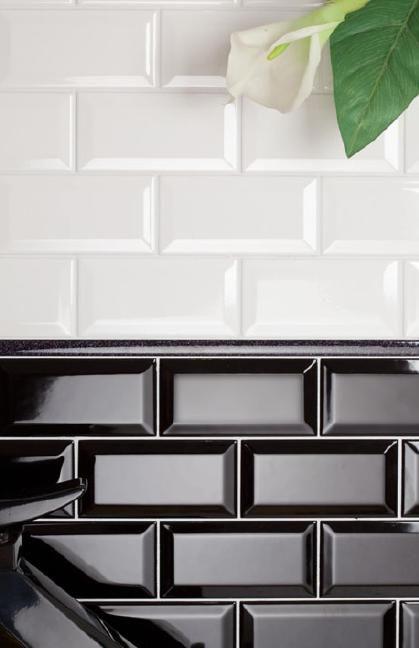 Metrofliesen Weiss Und Schwarz 10x20 Cm Fliesen Küche
