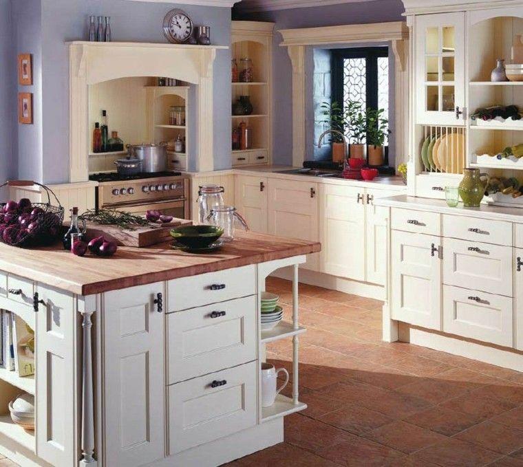 Cocinas pintadas con los colores de moda - 50 ideas | Color lila ...