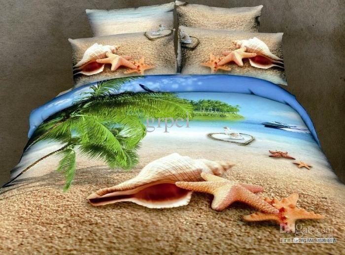 3d Blue Shell Beach Green Tree Ocean Comforter Bedding Set Queen Comforters Sets Duvet Cover Quilt Bed Linen Sheet Bedspread Oil Painting From Grpei 104 97 Beach Bedding Ocean Bedding Quilt Cover Sets