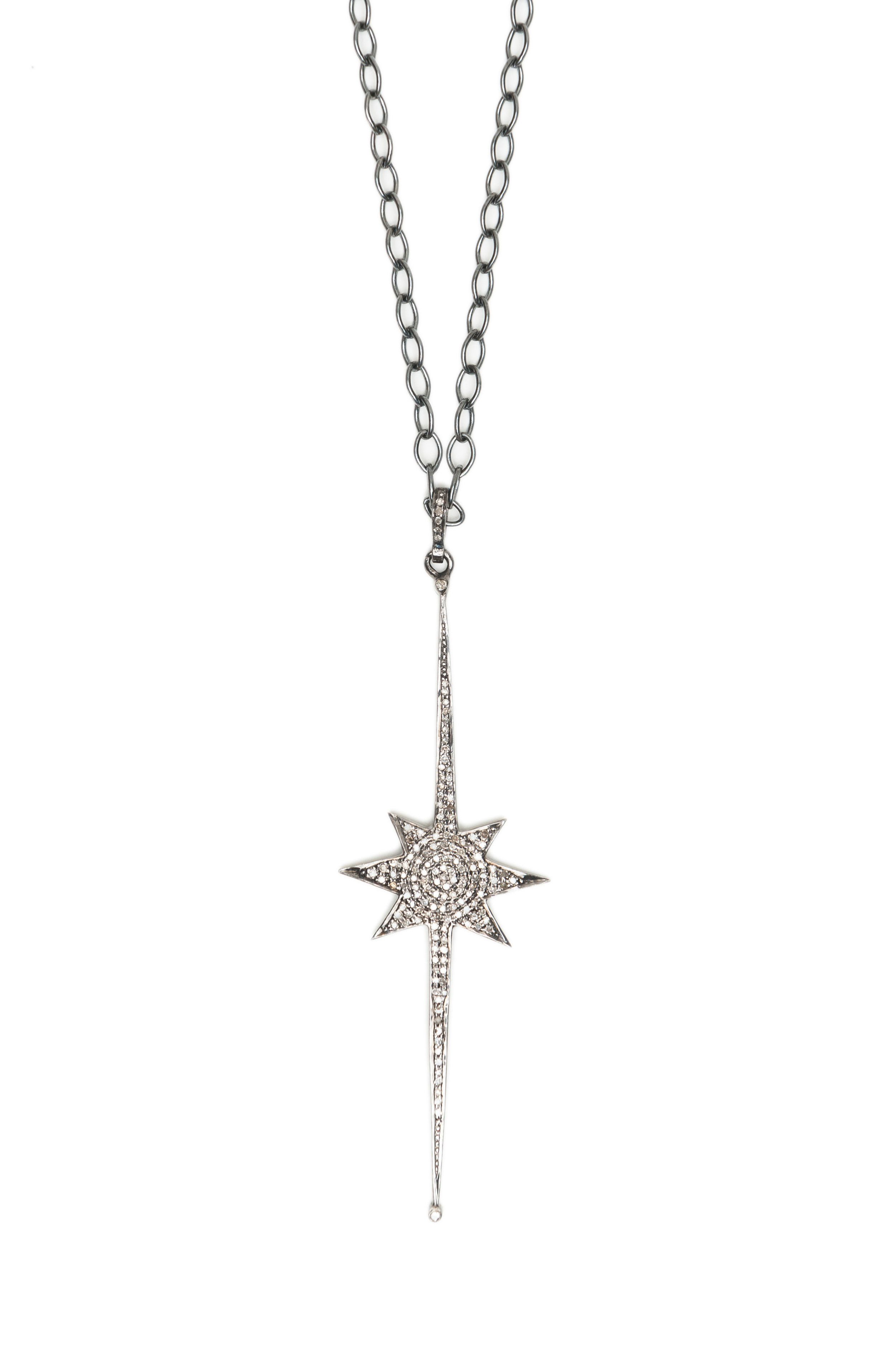 Pave Champagne Diamond North Star Pendant on Black Rhodium