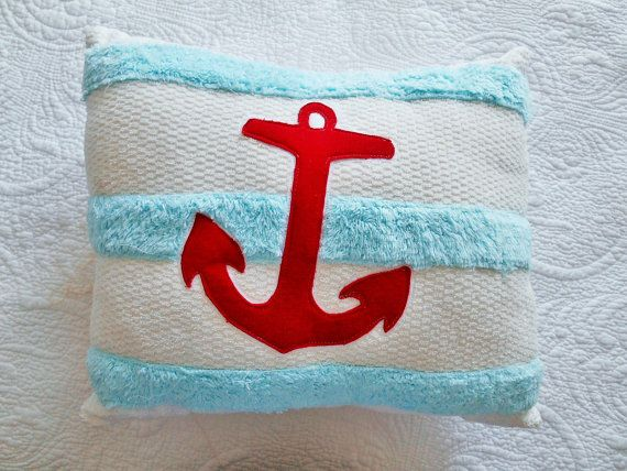Nautical Chenille Anchor Pillow.  Turquoise and by searchnrescue2, $44.00