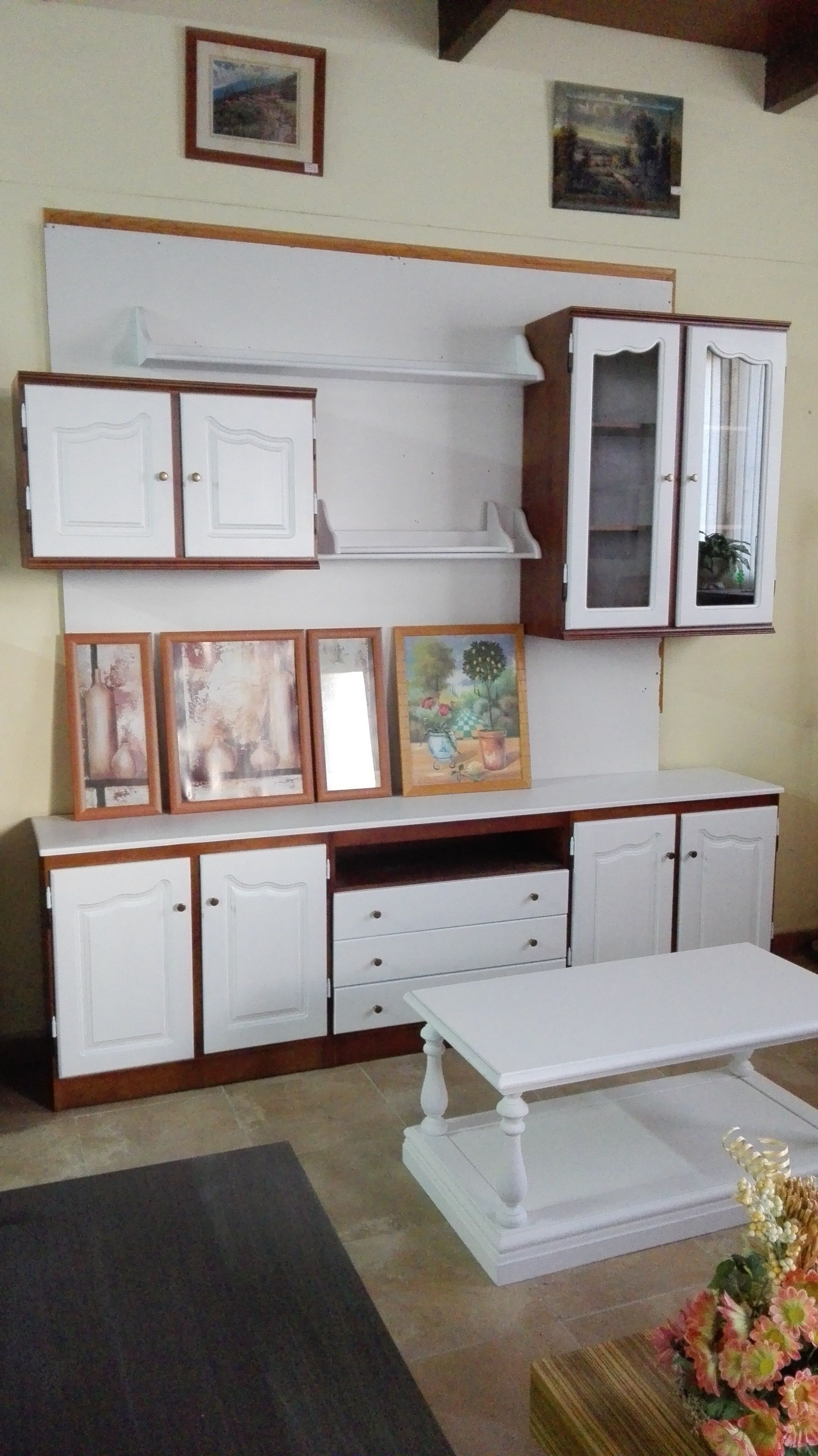 Muebles para sal n comedor modular de madera maciza 240 cm for Salon comedor lacado blanco
