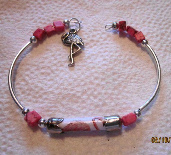 Paper Bead Pink Flamingo Silver Bracelet