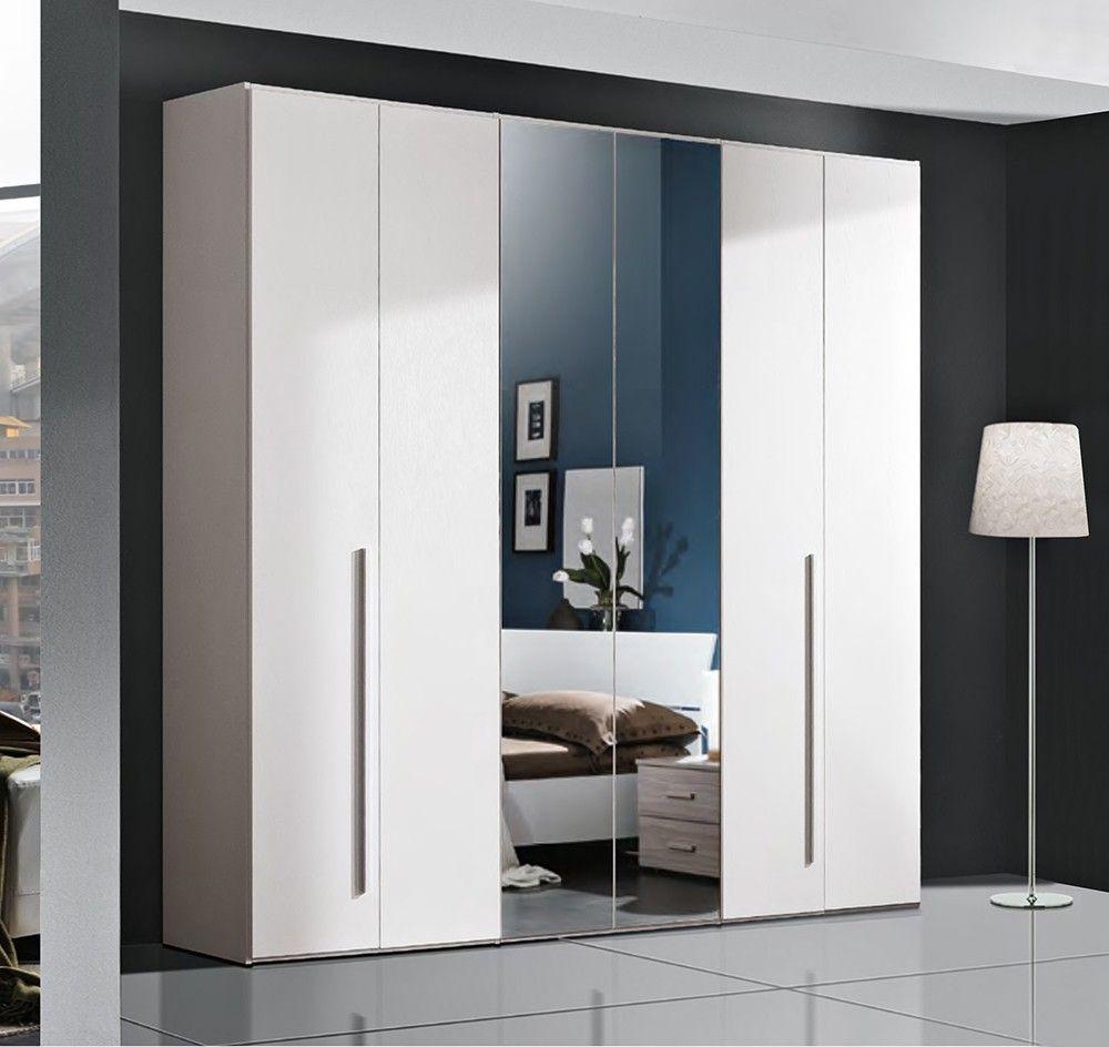 Armadio A 6 Ante Ante Battenti Bianco Frassinato Con Specchi Tall Cabinet Storage Storage Cabinet Tall Storage