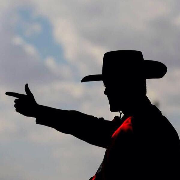The great Matador with his guns up!