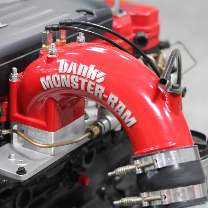 Banks Power Monster Ram Intake System 3 5 Red Powder Coated Includes Boost Tube For 1998 2002 Dodge Ram 2500 35 Fuel Efficient Powerbank Dodge Ram 3500