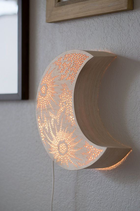 Crescent Moon Night Light Wooden Accent Lamp Luna Lantern Wall Hanging Wooden Bedside Lamps Night Light Crescent Moon Light