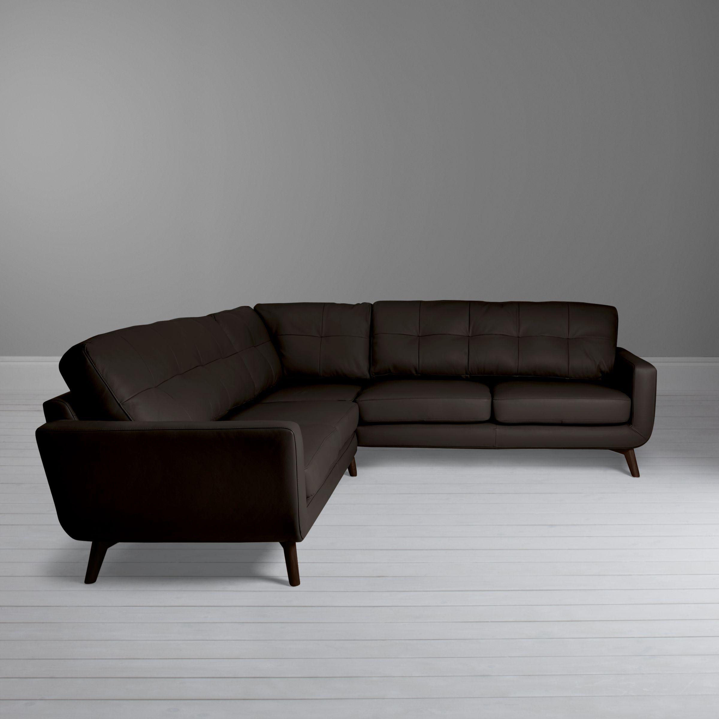 John Lewis Partners Barbican Leather Corner Sofa Dark Leg Leather Corner Sofa Corner Sofa Sofa