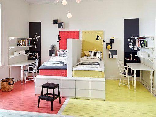 Habitaci n para tres hermanos dormitorio pinterest - Decoracion habitacion estudio ...