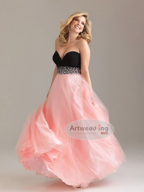 f8bbde97835 Sweetheart Tulle over Satin A Line Prom Dress with Beaded Waistline. Plus  Size ...