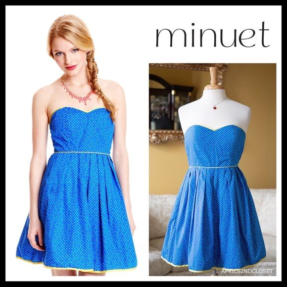 "MINUET BLUE STRAPLESS RETRO SHORT SUNDRESS A3C MINUET BLUE STRAPLESS A-LINE RETRO SHORT SUNDRESS  NEW WITH TAGS  RETAIL PRICE: $128  SIZE: S = 2-4  DETAILS  •  Allover mini polka dot print in vivid colors  •  Grip trim around the top and back  •  Subtly padded cups  •  Hidden side zip closure  •  Lined w/ shimmery organza tulle for fullness  •  Approx. 32.5"" long  FABRIC- Cotton blend COLOR- Blue multi  •  FAST SHIPPING  RELATED SEARCHES# cocktail A-line slip cutout Easter homecoming summer spri #shortsundress"