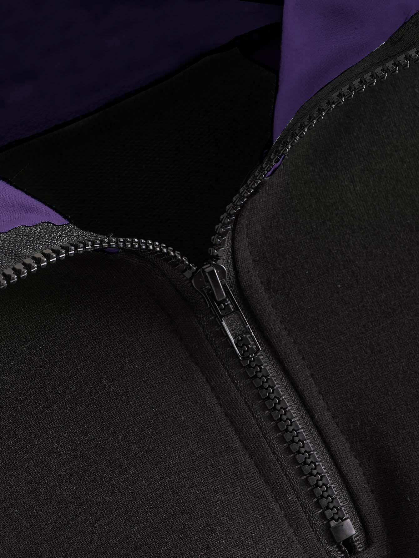 Stand Collar Contrast Panel Half Placket Sweatshirt Sponsored